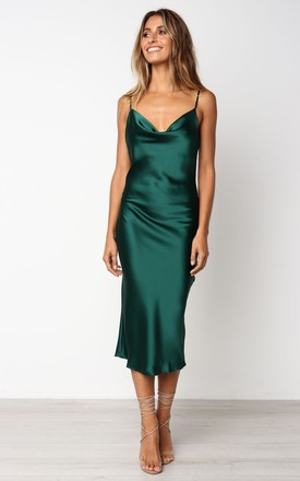 850bf955df70 Cowl Neck Satin Slip Cami Midi Dress Green