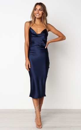 Cowl Neck Satin Slip Cami Midi Dress Navy 29d0150636