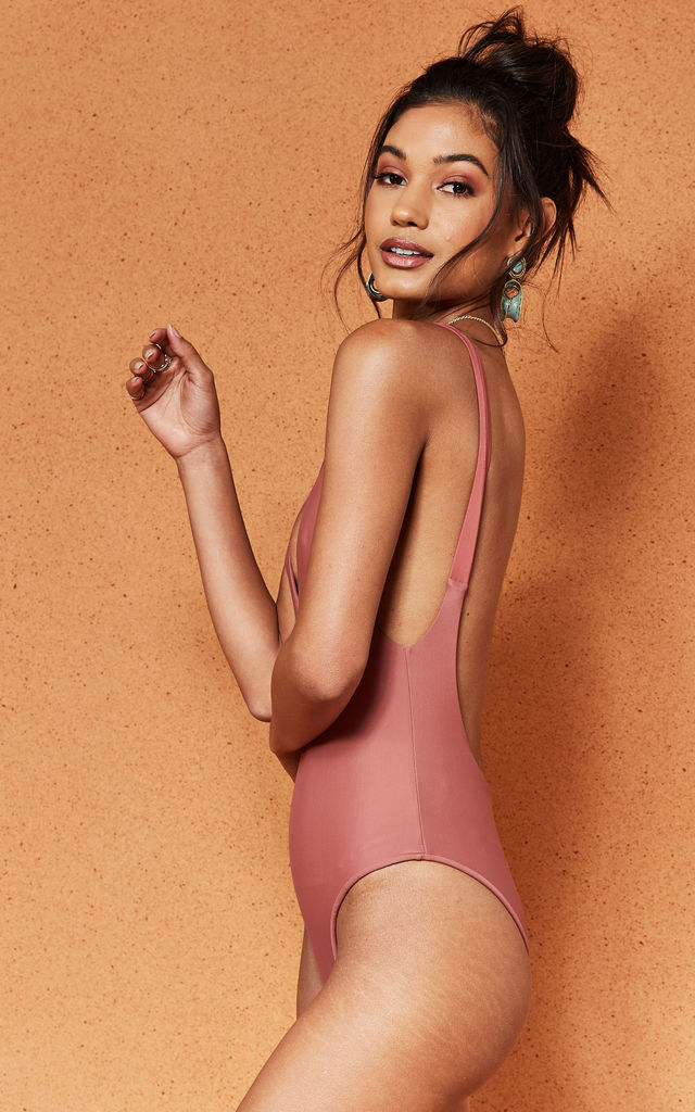 Pink Sahara Backless Swimsuit by Charlie Holiday