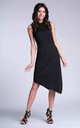 Black Sleeveless Asymmetric Midi Dress by Bergamo