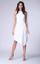 White Sleeveless Asymmetric Midi Dress by Bergamo