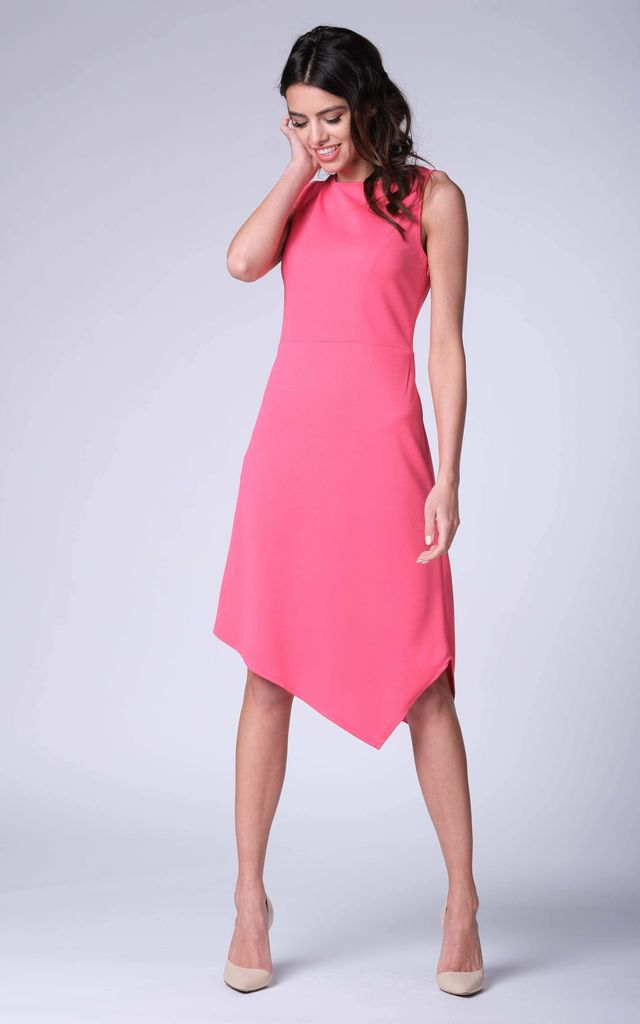 Pink Sleeveless Asymmetric Midi Dress by Bergamo