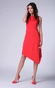 Red Sleeveless Asymmetric Midi Dress by Bergamo