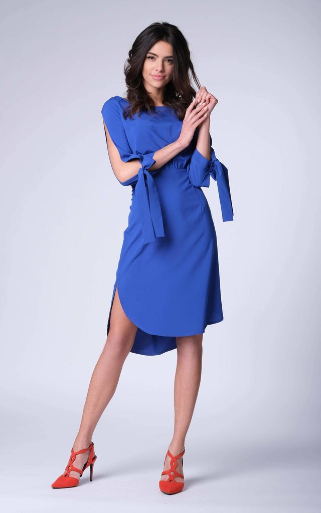 8100e8ddb83f3 Cobalt Loose Midi Dress With Cut Sleeves | Bergamo | SilkFred