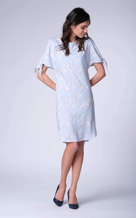 Blue Floral Loose Short Sleeved Tunic Dress by Bergamo