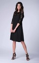 Black 3/4 Sleeve Lace Loose Dress by Bergamo