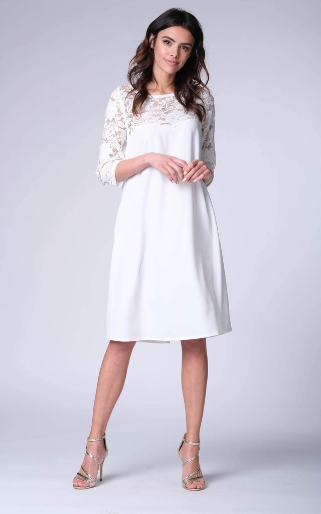 White 34 Sleeve Lace Loose Dress By Bergamo