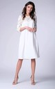 White 3/4 Sleeve Lace Loose Dress by Bergamo