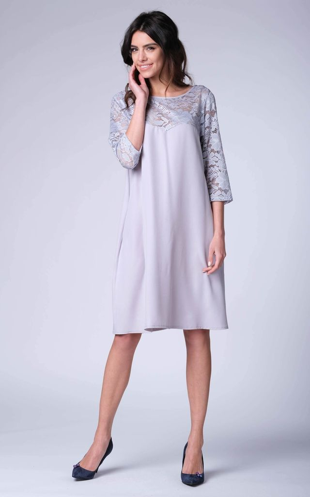 Grey 34 Sleeve Lace Loose Dress By Bergamo