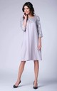 Grey 3/4 Sleeve Lace Loose Dress by Bergamo