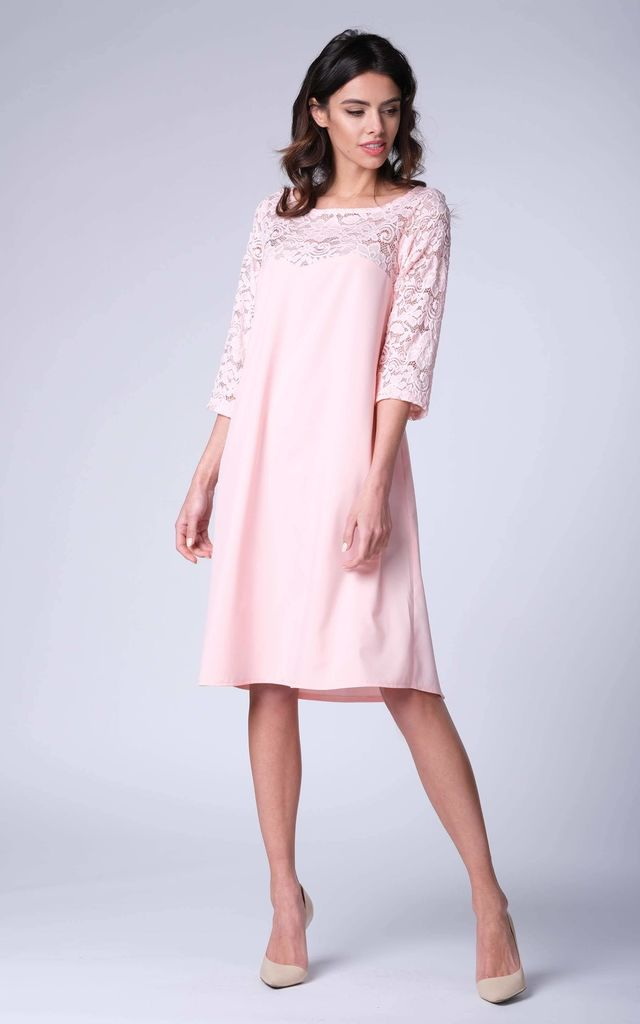 Pink 34 Sleeve Lace Loose Dress By Bergamo