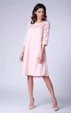 Pink 3/4 Sleeve Lace Loose Dress by Bergamo