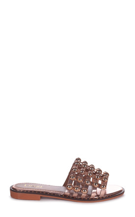 Cookie Rose Gold Slip On Slider With Studded Front Strap by Linzi