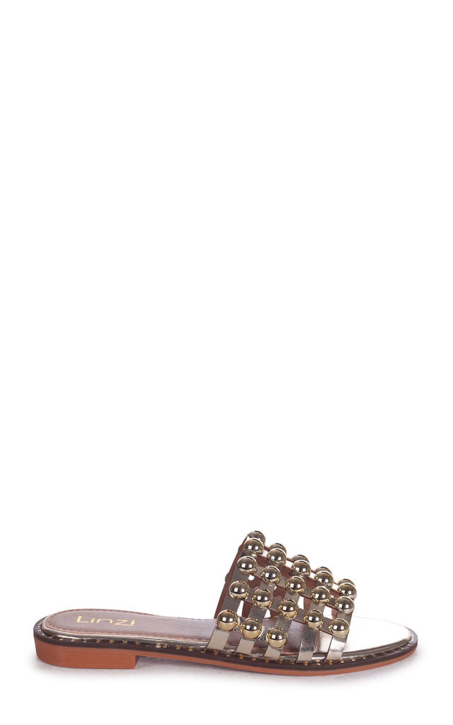 Cookie Gold Slip On Slider With Studded Front Strap by Linzi