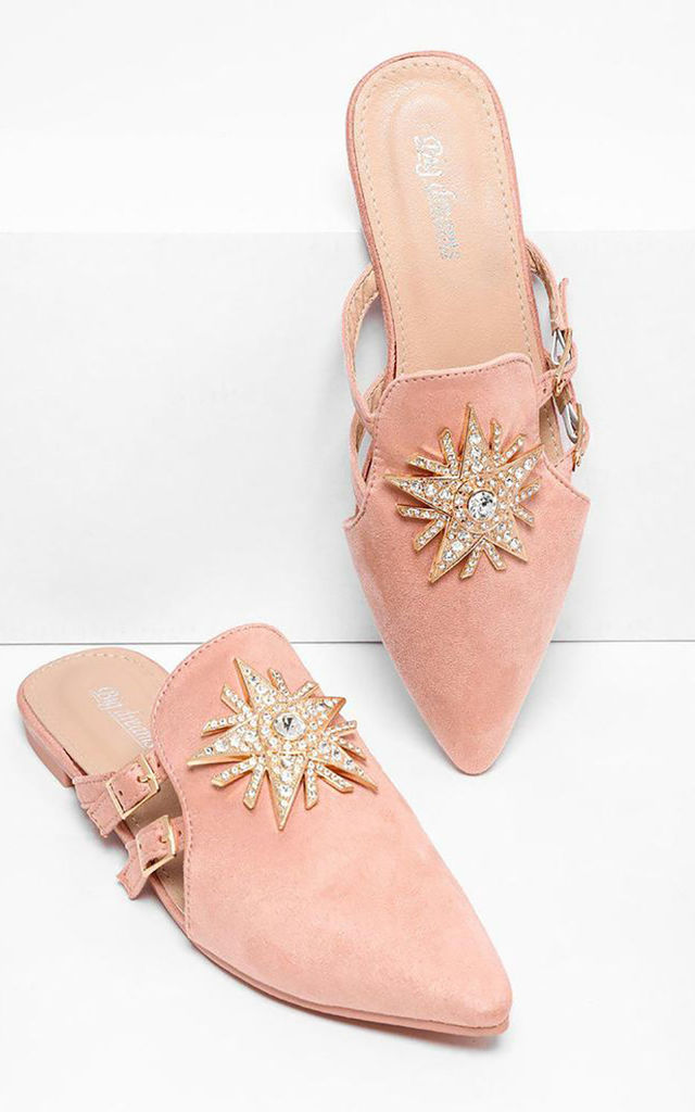 Jewelled Pink Pointed Toe Slipper Shoes by WANTD