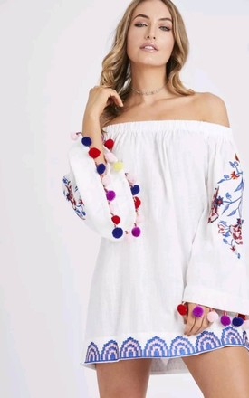 cbeeb1c2dce Embroidered Off the Shoulder Pompom Dress by Emily   Me