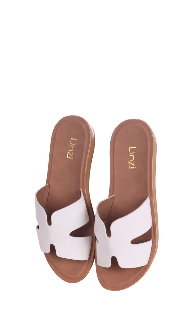 Greece White Nappa Slip On Slider With Link Shaped Front Strap by Linzi