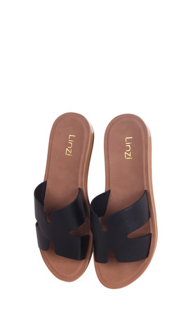 Greece Black Nappa Slip On Slider With Link Shaped Front Strap by Linzi