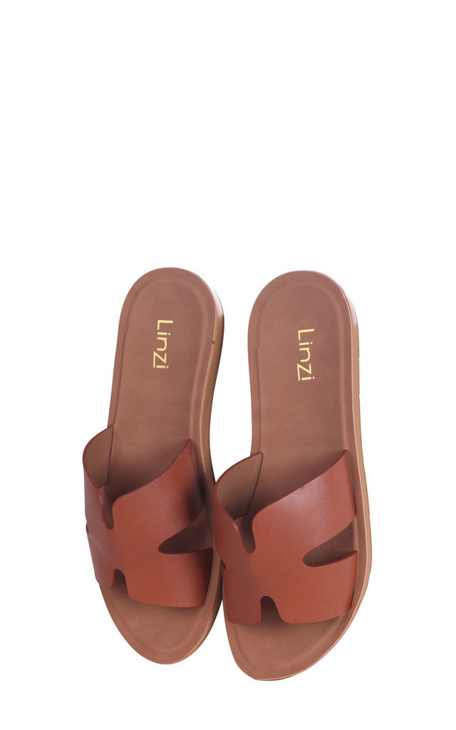 Greece Tan Nappa Slip On Slider With Link Shaped Front Strap by Linzi