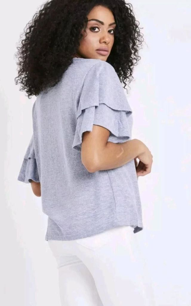 Blue Ruffle Sleeve Top by Emily & Me