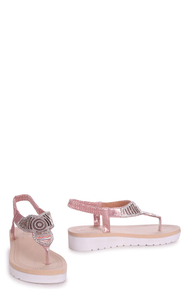 Kansas Rose Gold Toe Post Diamante Embellished Sandal With Memory Foam Inner by Linzi