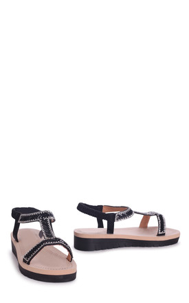 Olympia Black T-Bar Diamante Embellished Sandal With Memory Foam Inner by Linzi