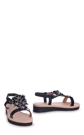 Albany Black Floral Embellished Sandal With Memory Foam Inner by Linzi