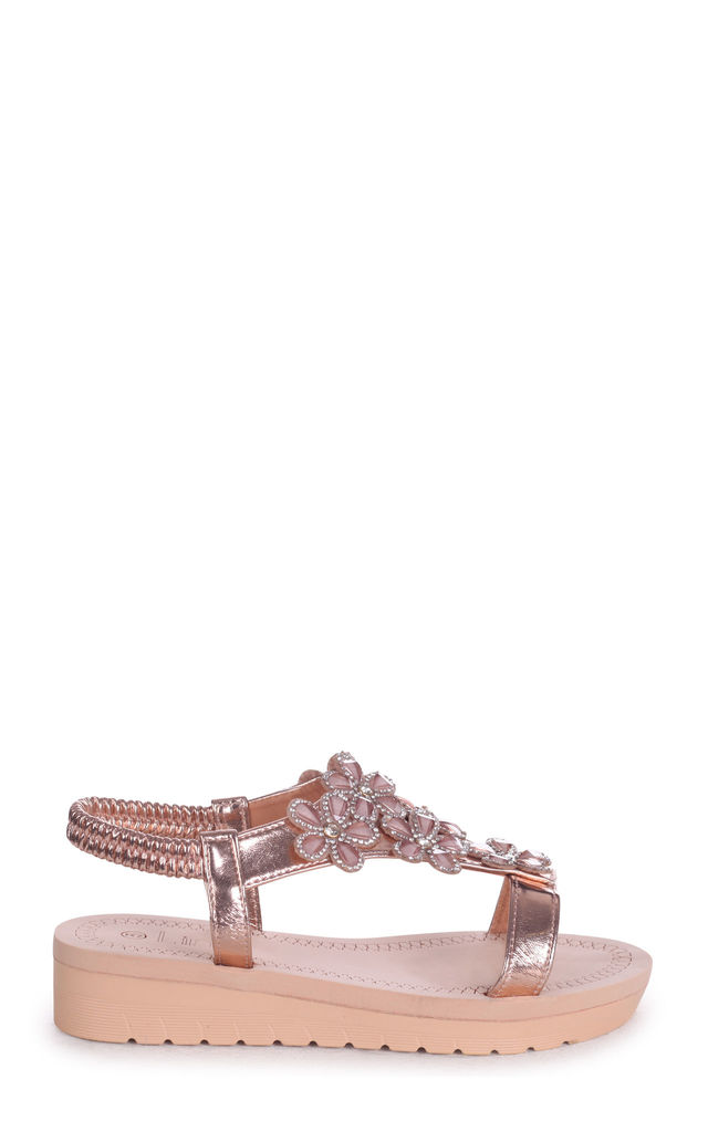 Albany Rose Gold Floral Embellished Sandal With Memory Foam Inner by Linzi
