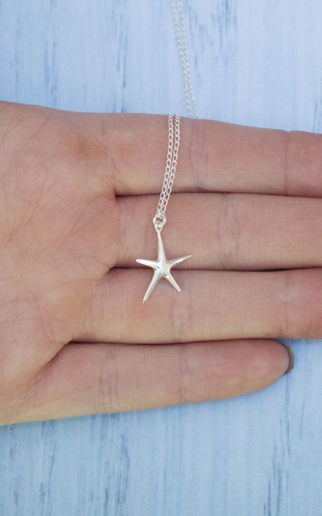 Sterling Silver Starfish Necklace by Diamond in The Sky