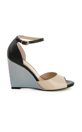 Black Print and Nude Wedge Sandals by Yull Shoes