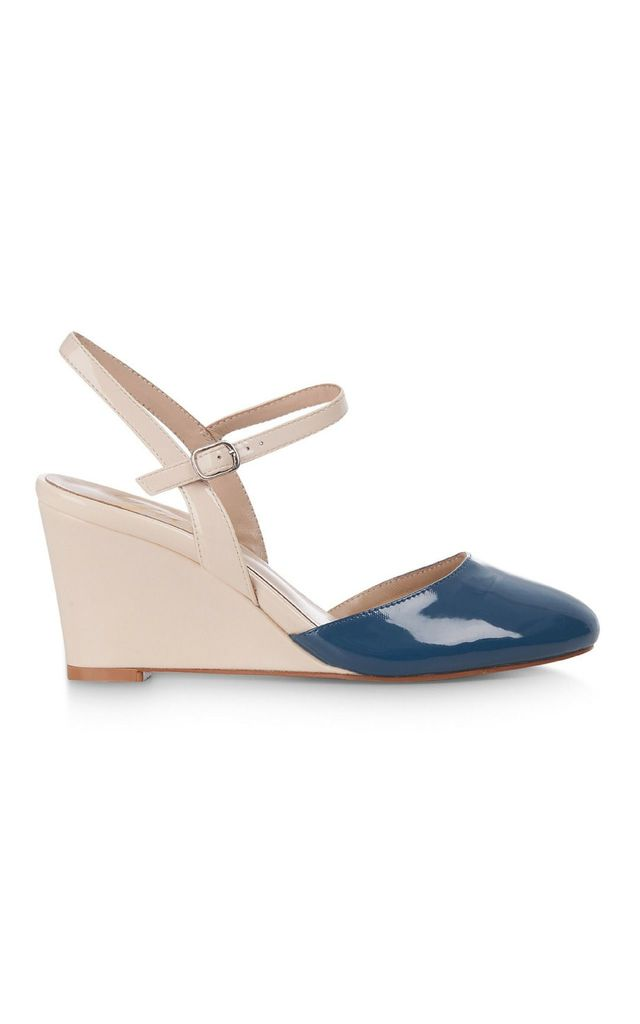 Blue and Tan Wedge Sandal by Yull Shoes
