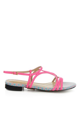 Blue Print and Pink Flat Sandals by Yull Shoes