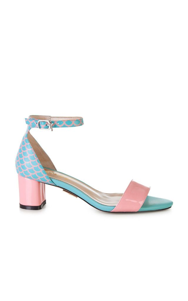 Blue and Pink Heeled Sandals by Yull Shoes