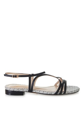 Black and White Flat Sandals by Yull Shoes
