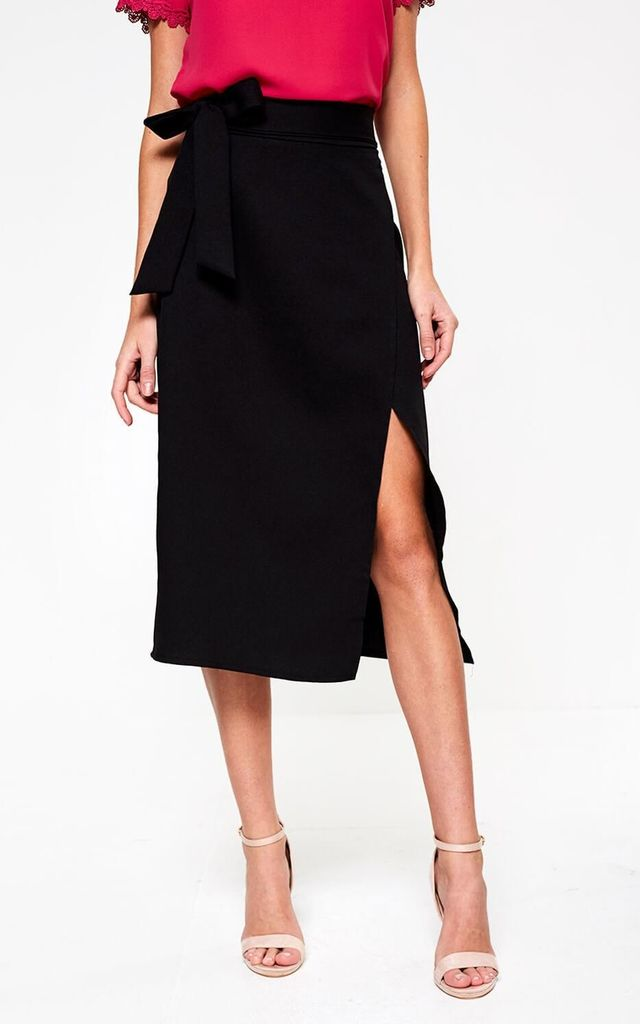 Wrap Midi Skirt in Black by Marc Angelo