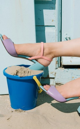 Block Heel Sandals in Purple, Blue, and Pink by Yull Shoes