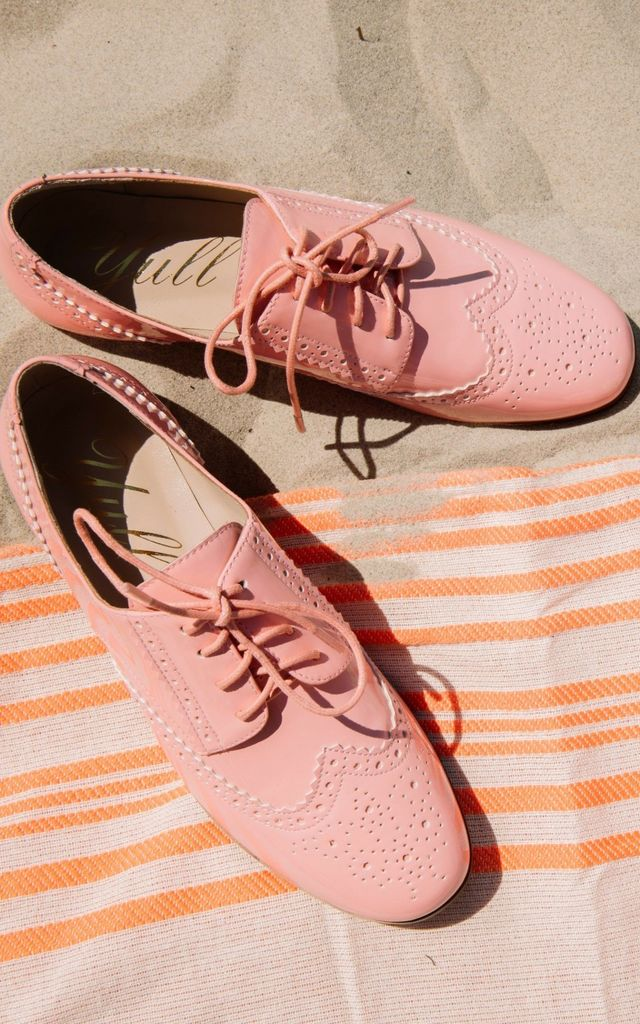 Flat Coral Pink Brogues by Yull Shoes