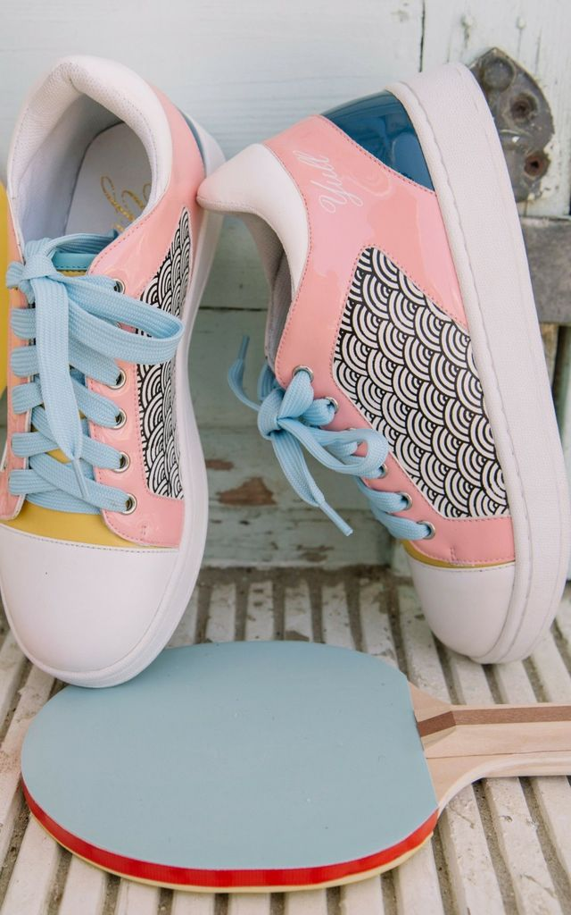 Summer print Yellow and Pink Trainers by Yull Shoes