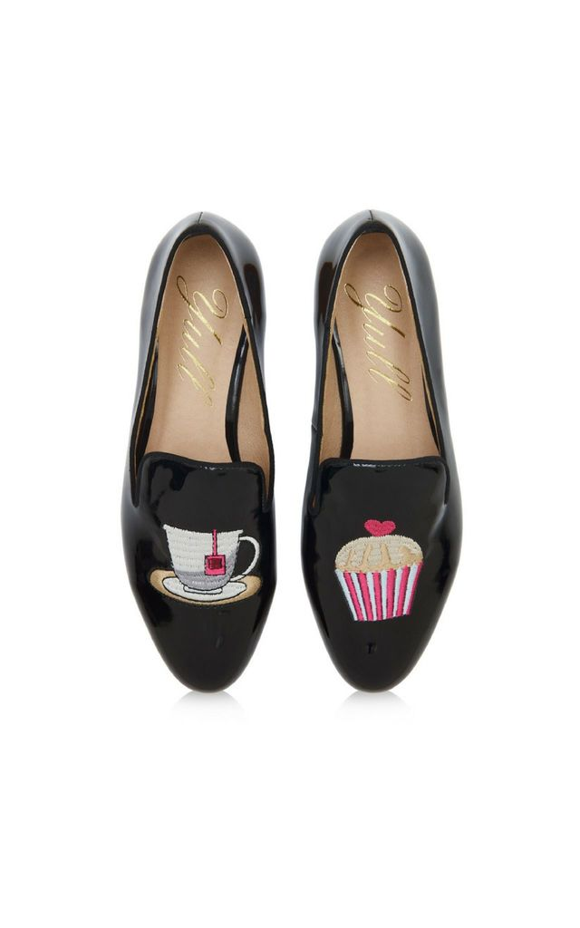 Patent Black Loafers with Cupcake and Teacup by Yull Shoes