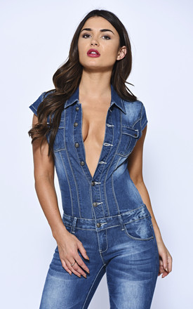 LOVE ISLAND - India wears, Blasted Mid Wash Buttoned Down Denim Jumpsuit by Off The Railz