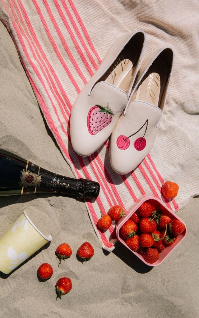 Patent Nude Loafers with Strawberry and Cherry by Yull Shoes