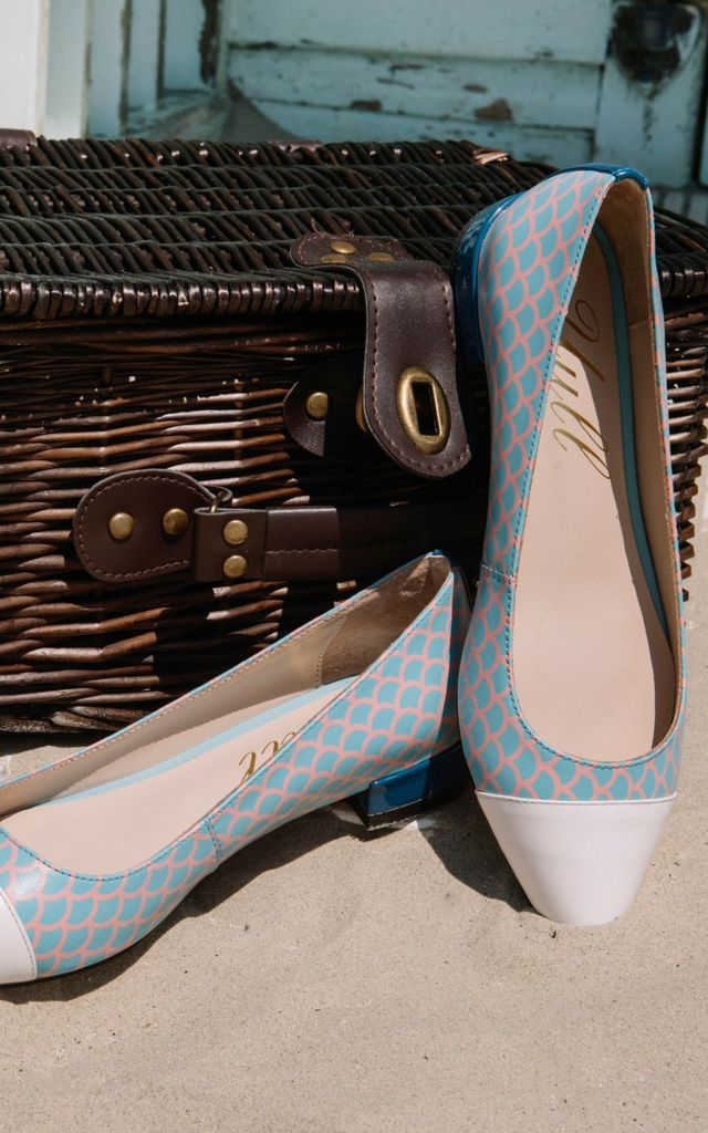 Pink and Blue Print Flats by Yull Shoes