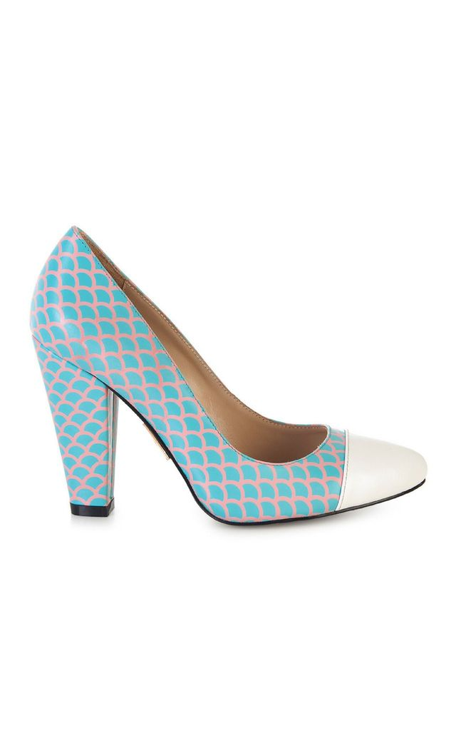 Pink and Blue Block High Heels by Yull Shoes