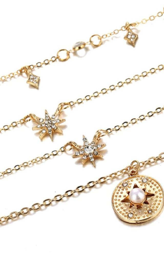 Star Pendant Layered Choker Gold Necklace by HAUS OF DECK