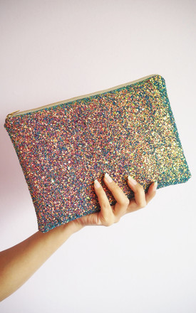 Glitter Clutch Bag In Purple And Brown Rainbow by Suki Sabur Designs Product photo