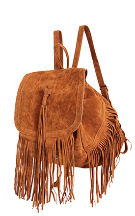 CAMEL FRINGED FAUX LEATHER BACKPACK by THE CODE HANDBAGS