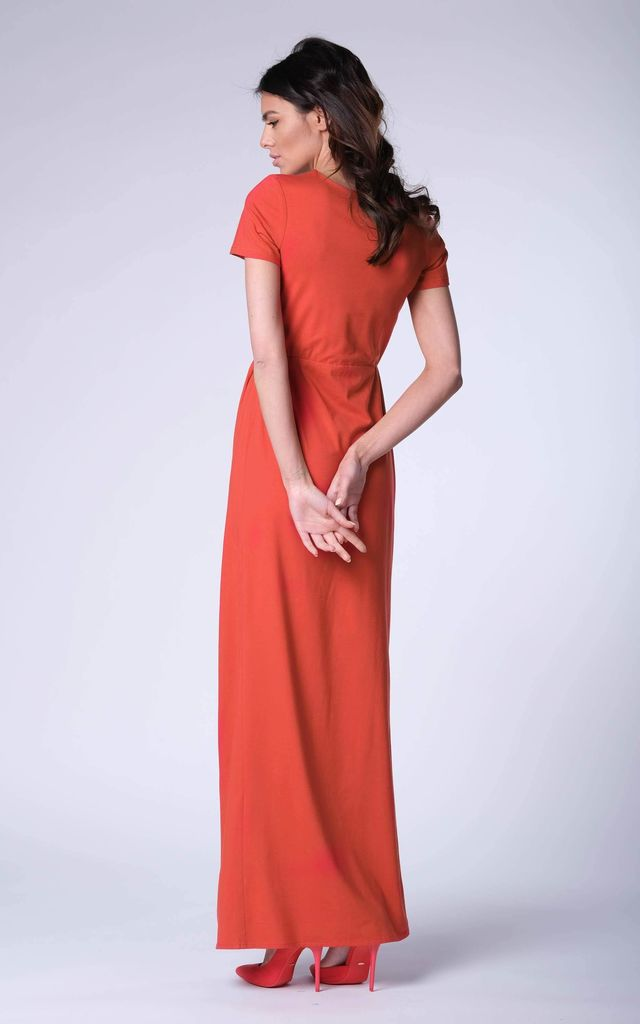 Red Wrap Front Maxi Dress by Bergamo