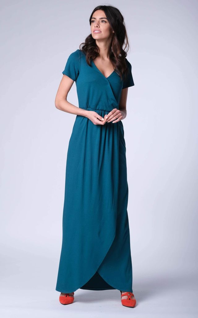 Green Wrap Front Maxi Dress by Bergamo
