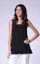 Black Sleeveless Vest Tunic Top with Frill by Bergamo