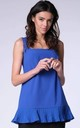 Cobalt Blue Sleeveless Vest Tunic Top with Frill by Bergamo